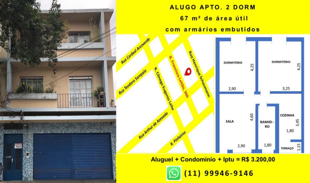 Apartamento para locação na Rua Francisco Leitão,, Pinheiros, São Paulo, SP